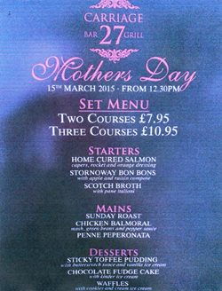 Carriage 27 Bar Amp Grill Launches Mother S Day Menu